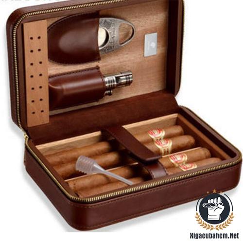 Hộp da Galiner 4 điếu kèm dao và khò có đục - xigacubahcm.net