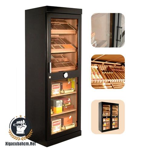Tủ giữ ẩm xì gà bằng điện Adorini Roma màu đen - xigacubahcm.net